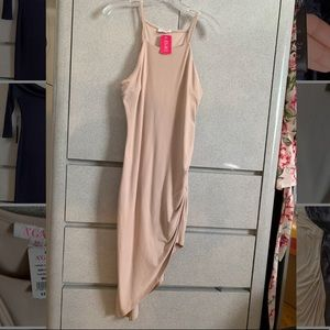 Beige Asymmetrical Midi Dress